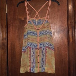 Free People Strappy Yellow Tank Top XS